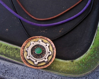 Big Layered multi colored gear pendant with green stone your choice of cord