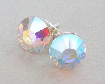 9mm Crystal AB Swarovski stud earrings, AB crystal posts, sparkly bridal earrings, wedding jewelry