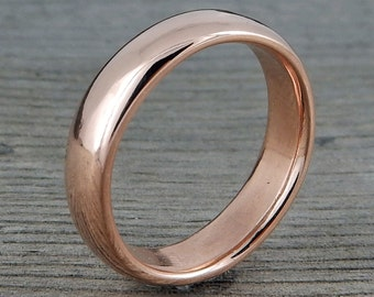 Rose Gold Wedding Band - Recycled 14k Rose Gold, Polished, Classic, Simple, 5mm Wide, Comfort-Fit, Mens or Womens - Made to Order