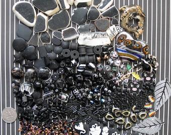 Multimedia Craft Supply Mix Over 800 Pcs Black Beads | Black Ceramic Tile | Black Beach Pottery | Black Pendants | Black Embellishments