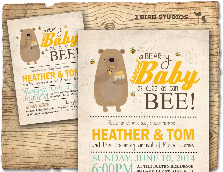Bear baby shower invitation Honey bee and honey bear baby