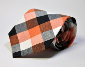 Boys Necktie Orange and Black Check Toddler Tie