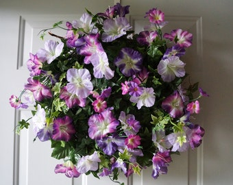 SALE Summer Wreath,Rustic Wreath, Morning Glory Flowers Wreath, Country Cottage Wreath, Purple Flowers Wreath