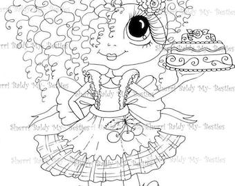 INSTANT DOWMLOAD Digital Digi Stamps Big Eye Big Head Dolls Digi Cake Girl remix New My Besties Tm By Sherri Baldy