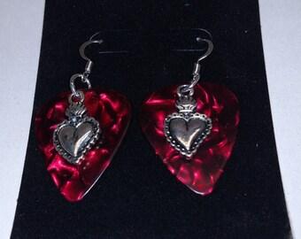 Heart Charm Guitar Pick Earrings