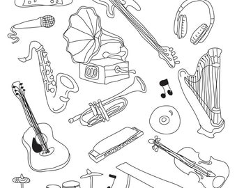 Music - Art Outlines Full Page 18 Original Hand Drawn Outline Illustrations
