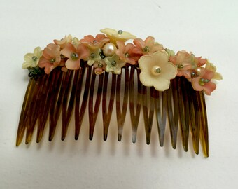 VICTORIAN Rose HAIR COMB Hand beaded vintage inspired by designer Colleen Toland