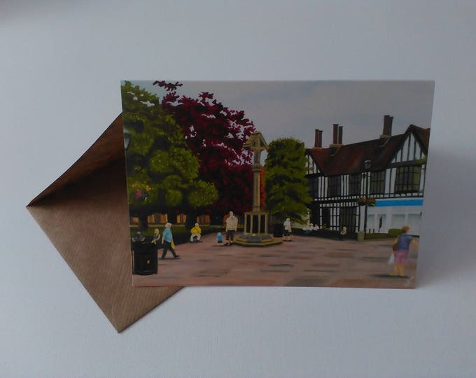 Nantwich Town Square - Greeting Card with Envelope in Cellophane Wrapping