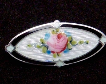Victorian FA Hermann Sterling Silver Enamel Pink Rose Small Oval Pin 23706