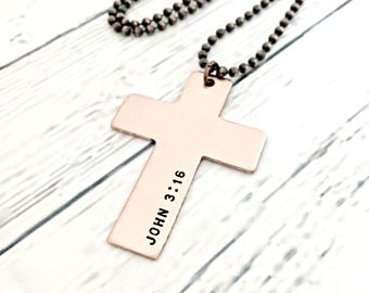 Copper Cross Necklace - Personalized Hand Stamped Bible Verse Necklace - Custom Cross Jewelry - John 3:16 Necklace - Graduation Gift for Him