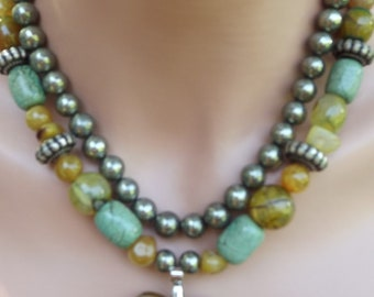Pyrite and Agate Necklace with Jade Pendant