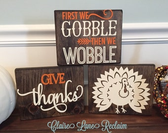 Thanksgiving wooden block set, fall wooden sign, turkey wooden sign, seasonal home decor, rustic wooden block set, gobble wooden sign,