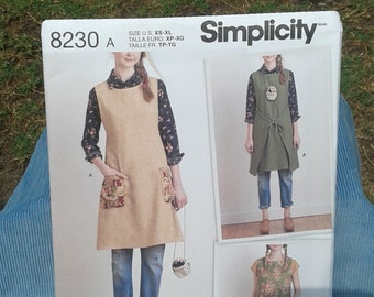 Misses' Boho Chic Apron Dress and Reversible Tabard - Simplicity  Sewing Pattern 8230 by Dottie Angel  - Sizes XS - XL ( 6 - 24 )