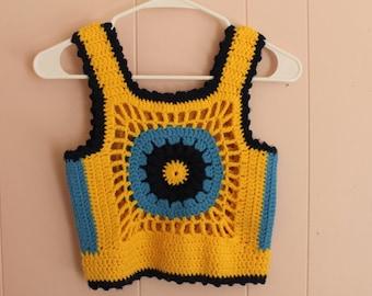 Sale! 60's Women's Crochet Floral Crop Top handmade Size S