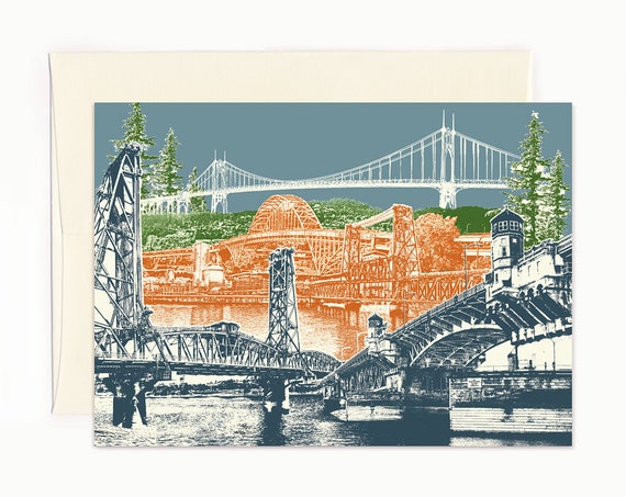 Many Crossings in Bridgetown Notecard - Portland, Oregon - full color - folded Greeting Card - Single Card or Set of 6