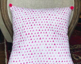 Pink and White Pillow, Pom Pom pillow, Throw Pillow, Throw Pillow Cover
