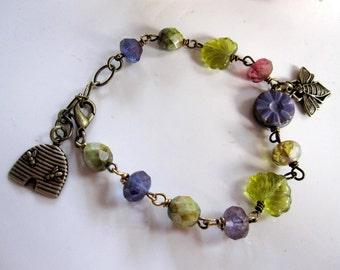 Bee Beaded Bracelet, Beehive Charm, Bohemian, Botanical, Brass Jewelry, Woodland Bracelet, Purple and Green Czech Beads, Redpeonycreations