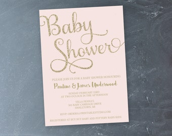 Pink and Gold Baby Shower Invitation - Instant Download Baby Shower Invitation  - Printable Baby Shower Invitation by Printable Studio