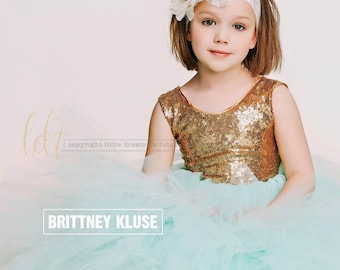 The Juliet Dress - Gold Sequin Bodice and Mint Tulle - Flower Girl Dress