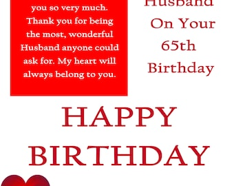 Happy Birthday 65 Birthday Card with removable laminate