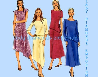 Butterick4064 P401 Womens Pullover Tunic Tops & A-line Skirts Asymmetrical Options size 14 16 18 Easy Plus Size Sewing Pattern Uncut FF