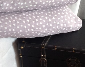 Set of two Stone washed warm gray/light lavender polka dots linen pillow cases