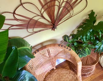 Vintage Bohemian Woven Rattan & Vinyl Handmade Wall Fan Hanging Set / Huge Boho Wall Hanging - 3 Fans Included for 1 Large Hanging