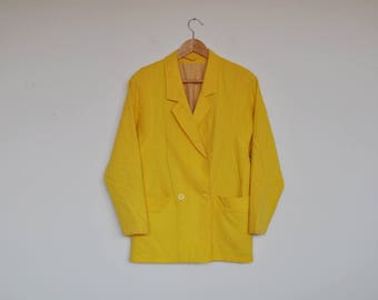 Vintage Yellow Textured Double Breasted Blazer Jacket