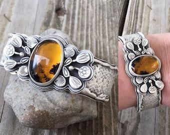 Amber and Fine Silver Cuff. BC21