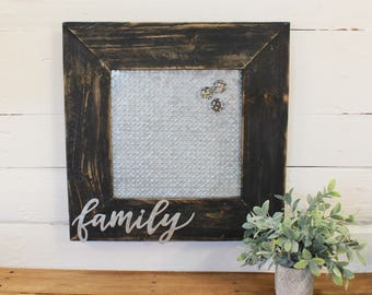 FAMILY FARMHOUSE Magnetic Memo Board/Frame * Reclaimed Wood Frame- w/ Embossed Galvanized Tile * Cottage Chic Wall Decor/Magnetic Memo Board