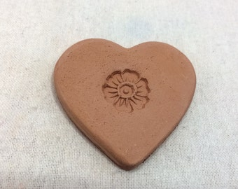 Handmade terracotta sugar keeper/ essential oil diffuser- pottery heart with flower, white gift bag- brown sugar saver, valentine's day