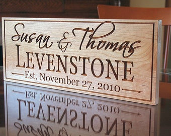 Family Name Sign, Wood Established Sign, Carved Wooden Sign, Engagement Date Sign, Carved Wedding Sign, Benchmark Custom Signs, Cherry LH