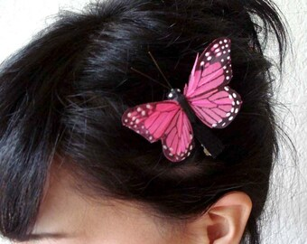 pink butterfly hair clip - bohemian hair accessory - bridesmaid hair clip - women's gift - bridal clip - hair accessories for women - HOPE