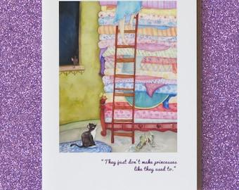 Pieds de fée princesse et le pois carte de voeux avec ma peinture «Pois est pour princesse» vierges stationnaire de conte de fées de carte de voeux