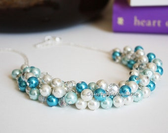Ocean Inspired Shades of Blue Necklace Bridesmaid Gift for Her Pearl Jewelry Bridesmaid Necklace Chunky Cluster Necklace Destination Wedding