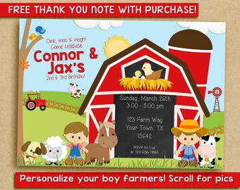 Farm Birthday Invitation, barnyard invitation, brothers, two boys, friends, cousins