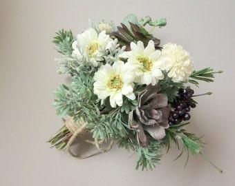 Succulent Wedding Bouquet, Spring Wedding Bouquet, Woodland Bouquet, Natural Wedding, Greenery Wedding, Faux Bridal Bouquet