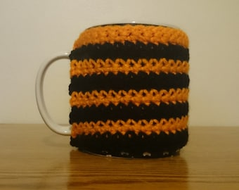 Crochet Halloween Coffee Cozy // Gift For Him // Gift For Her // Crocheted Coffee Sleeve // Halloween Cozie // Black and Orange // Decor