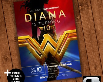 Wonder Woman Invitation with FREE Thank You Card - Wonder Woman Invite - Wonder Woman Birthday Invitation - Party  - Digital File Download