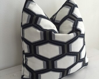 Vintage Mod Graphic Honeycomb Black and White Pillow Cover // 17 x 17