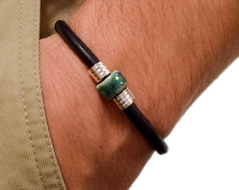 Black Leather or Brown Leather Bracelet Unisex Bracelet With Magnetic Clasp Clay Bead Bracelet Statement Jewelry
