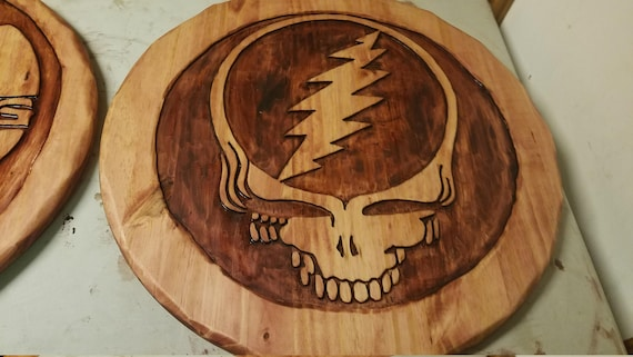 Grateful Dead Steal Your Face Hand Made Wood Carving