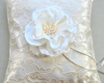 CLOSEOUT SALE Ivory Satin and Lace Ring Bearer Pillow, Ivory Bridal Pillow, Wedding ring Pillow