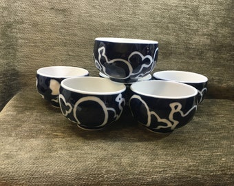 Cobalt Blue on White Rice Soup Bowls, Blue and White Bowls, Textured Porcelain, Set of 6, Asian Rice Bowls, Asian Soup Bowls