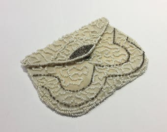 Vintage Beaded White and Silver Pouch