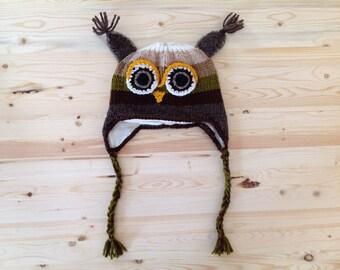 Handmade Owl Hats * soft fleece lining