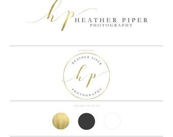 Gold Logo Calligraphy Logo Photography Logo Watermark Lash Logo Branding Package Microblading Logo Doula Logo Realtor Logo Real Estate Logo