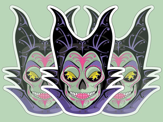 Maleficent sugar skull 3x4 vinyl sticker