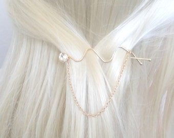 Gold Hair Pin, Crystal Hair Pin, Crystal Hairpin, Gold Crystal Hairpin, Crystal Wedding Hair Pin, Crystal Wedding Hairpin, Barette, gift