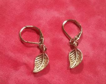 Petite Leaf Earrings - Silver Tone